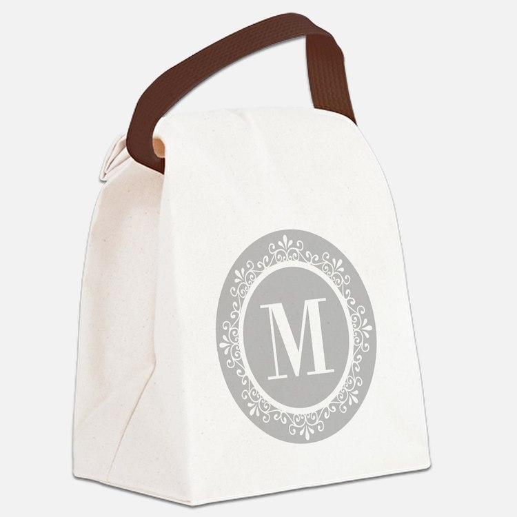 Gray | White Swirls Monogram Canvas Lunch Bag
