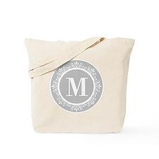 Gray | White Swirls Monogram Tote Bag