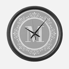 Gray | White Swirls Monogram Large Wall Clock