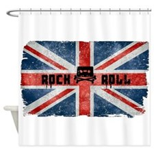 Rock Roll-British Flag Shower Curtain