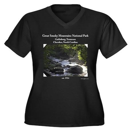 Smoky Mountain Stream Women's Plus Size V-Neck