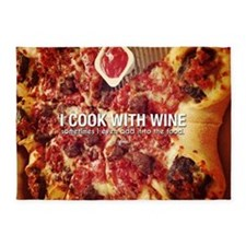 I Cook With Wine Funny Photo Quote 5'x7'Area Rug