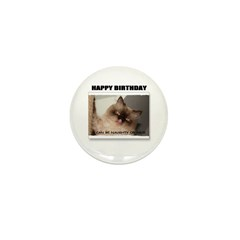 HAPPY BIRTHDAY (NAUGHTY CAT LOOK) Mini Button (10