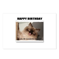 HAPPY BIRTHDAY (NAUGHTY CAT LOOK) Postcards (Packa