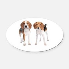 Two Beagle Dogs Oval Car Magnet