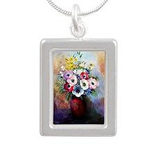 Anemones - Odilon Redon Silver Portrait Necklace