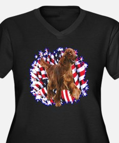 Irish Setter Patriotic Women's Plus Size V-Neck Da