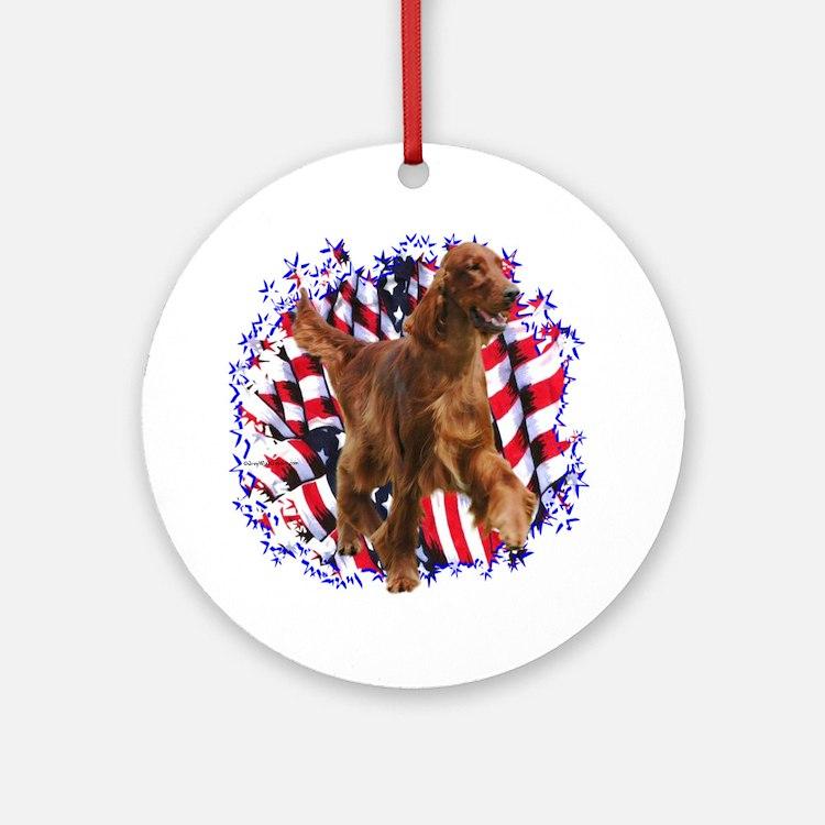Irish Setter Patriotic Ornament (Round)