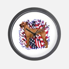 Irish Terrier Patriotic Wall Clock