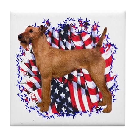 Irish Terrier Patriotic Tile Coaster