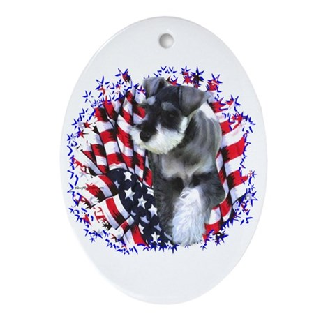 Mini Schnauzer Patriotic Oval Ornament