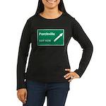 Porchville Exit Women's Long Sleeve Dark T-Shirt