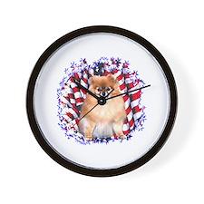 Pomeranian Patriotic Wall Clock