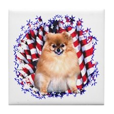 Pomeranian Patriotic Tile Coaster