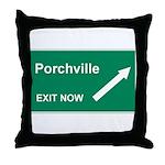 Porchville Exit Throw Pillow