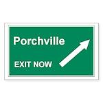 Porchville Exit Rectangle Sticker