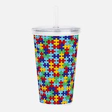 Autism Awareness Puzzle Piece Pattern Acrylic Doub