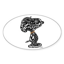 Halloween Snoopy Collage Sticker (Oval)