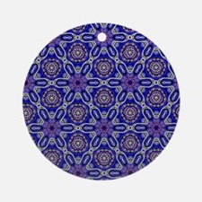 Blue Flower Celtic Knot Pattern Round Ornament