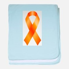 Cute Multiple sclerosis orange ribbon baby blanket