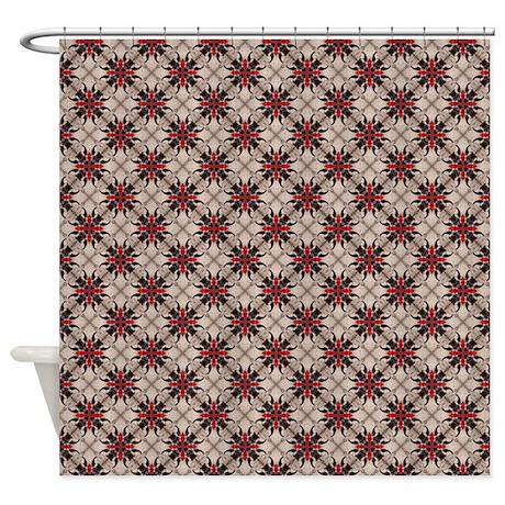 burgundy white moroccan quatrefoil shower curtain by admin