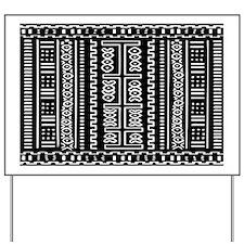 Black and White Mud Cloth Pattern Yard Sign