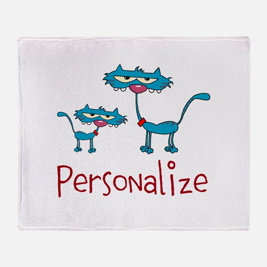 Personalizable. Blue Cats Throw Blanket