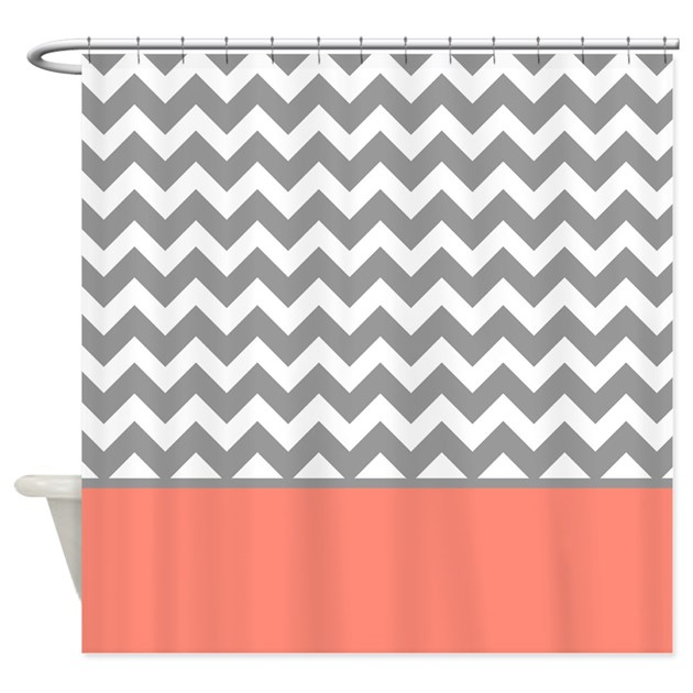 Gray Chevron Pattern Coral Stripe Shower Curtain By Admin CP2452714