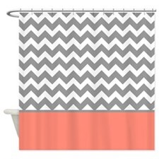 Gray Chevron Pattern Coral Stripe Shower Curtain