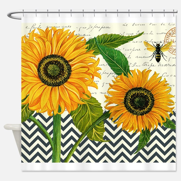 sunflower shower curtains sunflower fabric shower. Black Bedroom Furniture Sets. Home Design Ideas