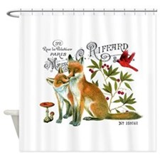 modern vintage woodland winter fox Shower Curtain