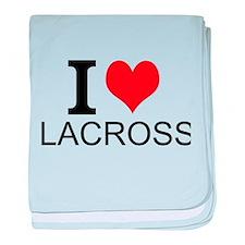 I Love Lacrosse baby blanket