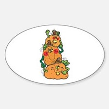 Cute Pumpkin Patch Stack Oval Decal