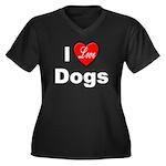 I Love Dogs (Front) Women's Plus Size V-Neck Dark