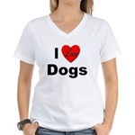 I Love Dogs Women's V-Neck T-Shirt