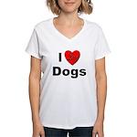 I Love Dogs (Front) Women's V-Neck T-Shirt