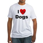 I Love Dogs (Front) Fitted T-Shirt