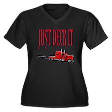 Just Deck It Women's Plus Size V-Neck Dark T-Shirt