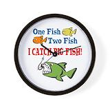 I catch big fish Wall Clocks