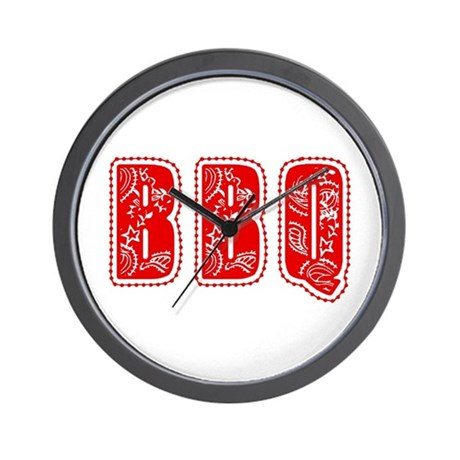 Red White & Blue BBQ Wall Clock