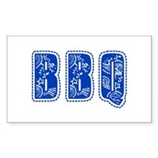 Red White & Blue BBQ Rectangle Decal
