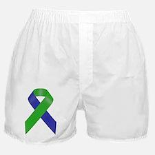 Blue and Green Awareness Ribbon Boxer Shorts