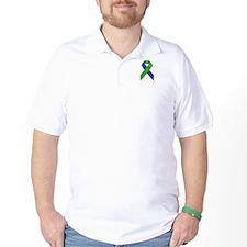 Blue and Green Awareness Ribbon T-Shirt