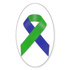 Blue and Green Awareness Ribbon Decal