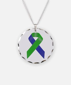 Blue and Green Awareness Rib Necklace