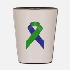 Blue and Green Awareness Ribbon Shot Glass