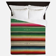 Vintage Green Mexican Serape Queen Duvet