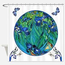 Van Gogh Garden Irises/ B'flies Shower Curtain