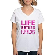 Life Is Better In Flip Flops Block Pink T-Shirt