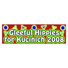Gleeful Hippies for Kucinich bumper sticker